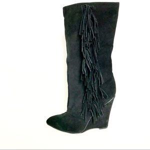 MIA Black Boot Suede Leather Flirty Fringe NWOT 10